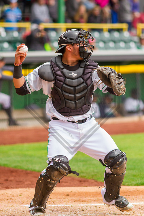 Clinton LumberKings catcher Yojhan Quevedo (11) during a Midwest League game against the Lansing Lugnuts on May 9, 2017 at Ashford University Field in Clinton, Iowa.  Lansing defeated Clinton 11-6. (Brad Krause/Krause Sports Photography)
