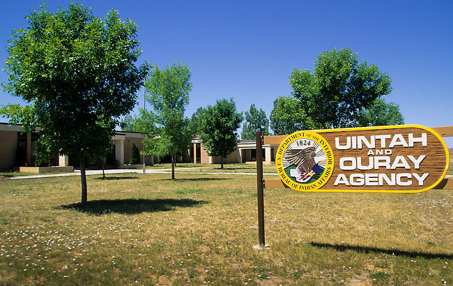 Uintah and Ouray Agency sign greets visitors to the Utes tribal offices of business, Fort Duchesne on the Uintah and Ouray Reservation, Utah.