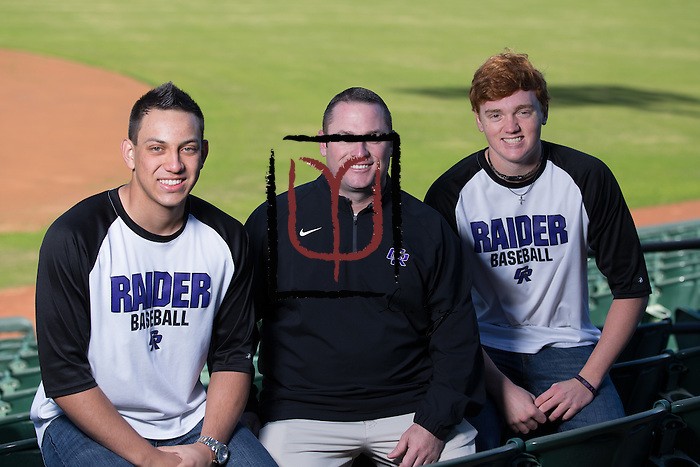 Stormy Taylor, Coach Jeremy Trojacek, Tony Oslovar, baseball, Cedar Ridge High School  (LOURDES M SHOAF for Round Rock Leader - lulyphoto.com)