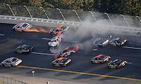 Oct 3, 2008; Talladega, AL, USA; ARCA RE/MAX Series drivers Dominick Casola (14), Ken Butler III (22), Brian Scott (25) and Tavler Malsam (4) crash during the Remax 250 at Talladega Superspeedway. Mandatory Credit: Mark J. Rebilas-
