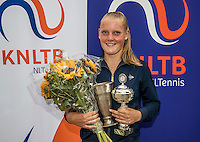 Hilversum, Netherlands, August 13, 2016, National Junior Championships, NJK, Prizegiving, winner girl's single 18 years : Suzan Lamens. <br /> Photo: Tennisimages/Henk Koster