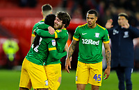 Preston North End's Ben Pearson celebrates with Daniel Johnson after the match<br /> <br /> Photographer Alex Dodd/CameraSport<br /> <br /> The EFL Sky Bet Championship - Middlesbrough v Preston North End - Wednesday 13th March 2019 - Riverside Stadium - Middlesbrough<br /> <br /> World Copyright &copy; 2019 CameraSport. All rights reserved. 43 Linden Ave. Countesthorpe. Leicester. England. LE8 5PG - Tel: +44 (0) 116 277 4147 - admin@camerasport.com - www.camerasport.com