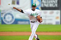Edward Diaz #45 of the Clinton LumberKings pitches against the Kane County Cougars at Ashford University Field on July 5, 2014 in Clinton, Iowa. The Cougars won 4-0.   (Dennis Hubbard/Four Seam Images)