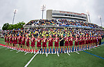 STONY BROOK, NY - MAY 27: A general view of the Boston College Eagles during the national anthem ahead of the Division I Women's Lacrosse Championship held at Kenneth P. LaValle Stadium on May 27, 2018 in Stony Brook, New York. (Photo by Ben Solomon/NCAA Photos via Getty Images)