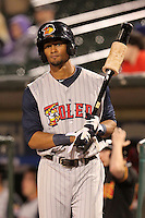 Toledo Mudhens outfielder Eric Patterson #3 on deck during a game against the Empire State Yankees at Frontier Field on May 30, 2012 in Rochester, New York.  Empire State defeated Toledo 5-2.  (Mike Janes/Four Seam Images)