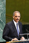 U.S. Attorney General Eric Holder addresses diplomats during the 67th United Nations General Assembly at the U.N. Headquarters in New York , United States. 09/24/2012. Photo by Kena Betancur/VIEWpress.