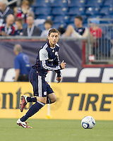 New England Revolution midfielder Chris Tierney (8) check his options. In a Major League Soccer (MLS) match, the New England Revolution tied Toronto FC, 0-0, at Gillette Stadium on June 15, 2011.