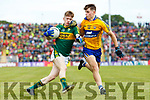 Patrick Warren Kerry in action against Ross O'Doherty Clare in the Munster Minor Football Final at Fitzgerald Stadium on Sunday.