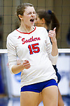 PENSACOLA, FL - DECEMBER 09: Rachael Martin (15) of Florida Southern College reacts after scoring a point during the Division II Women's Volleyball Championship held at UWF Field House on December 9, 2017 in Pensacola, Florida. (Photo by Timothy Nwachukwu/NCAA Photos via Getty Images)