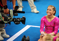 Aug. 7, 2008; Beijing, CHINA; Shawn Johnson (USA) is filmed during womens gymnastics training prior to the Olympics at the National Indoor Stadium. Mandatory Credit: Mark J. Rebilas-