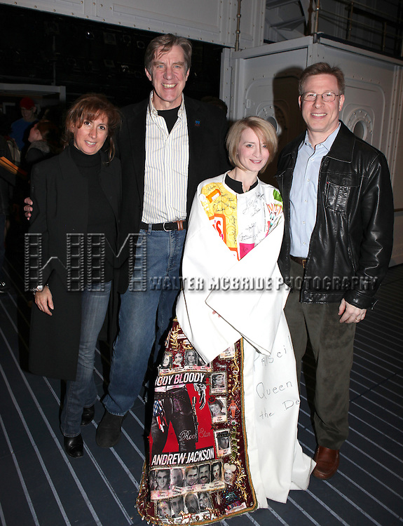 Rebecca Kim Jordan (AEA Second V.P.,chair of ACCA), Nick Wyman (AEA President)Joyce Chittick & 3rd VP Ira Mont.attending the Opening Night Performance Gypsy Robe Ceremony for Recipient Joyce Chittick for The Roundabout Theatre Company's Broadway Production of 'Anything Goes'  in New York City.