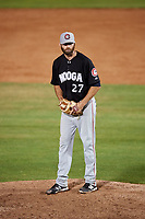 Chattanooga Lookouts starting pitcher Randy LeBlanc (27) gets ready to deliver a pitch during a game against the Mobile BayBears on May 5, 2018 at Hank Aaron Stadium in Mobile, Alabama.  Chattanooga defeated Mobile 11-5.  (Mike Janes/Four Seam Images)