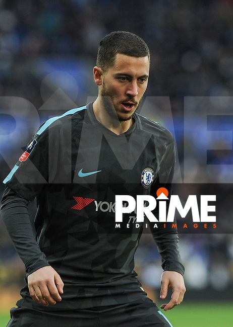 Eden Hazard of Chelsea during the FA Cup QF match between Leicester City and Chelsea at the King Power Stadium, Leicester, England on 18 March 2018. Photo by Stephen Buckley / PRiME Media Images.