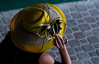 LOUISVILLE, KY - MAY 04: a woman wears a fancy yellow hat on Kentucky Oaks Day at Churchill Downs on May 4, 2018 in Louisville, Kentucky. (Photo by Scott Serio/Eclipse Sportswire/Getty Images)