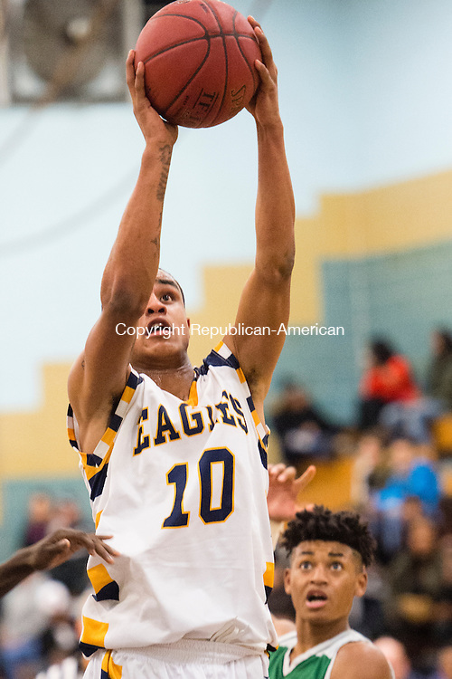 WATERBURY, CT- 13 January 2015-011316EC12-   Kenedy's Darryl Flowers goes up for a shot Wednesday night against Wilby. Erin Covey Republican-American