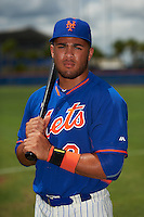 GCL Mets outfielder Desmond Lindsay (2) poses for a photo before the second game of a doubleheader against the GCL Marlins on July 24, 2015 at the St. Lucie Sports Complex in St. Lucie, Florida.  GCL Marlins defeated the GCL Mets 5-4.  (Mike Janes/Four Seam Images)