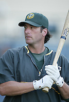 Greg Myers of the Oakland Athletics before a 2002 MLB season game against the Los Angeles Angels at Angel Stadium, in Anaheim, California. (Larry Goren/Four Seam Images)