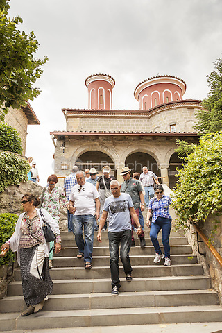 Tourists visiting the Holy Monastery of Saint Stephen, Meteora, Thessaly, Greece <br /> CAP/MEL<br /> &copy;MEL/Capital Pictures /MediaPunch ***NORTH AND SOUTH AMERICA ONLY***