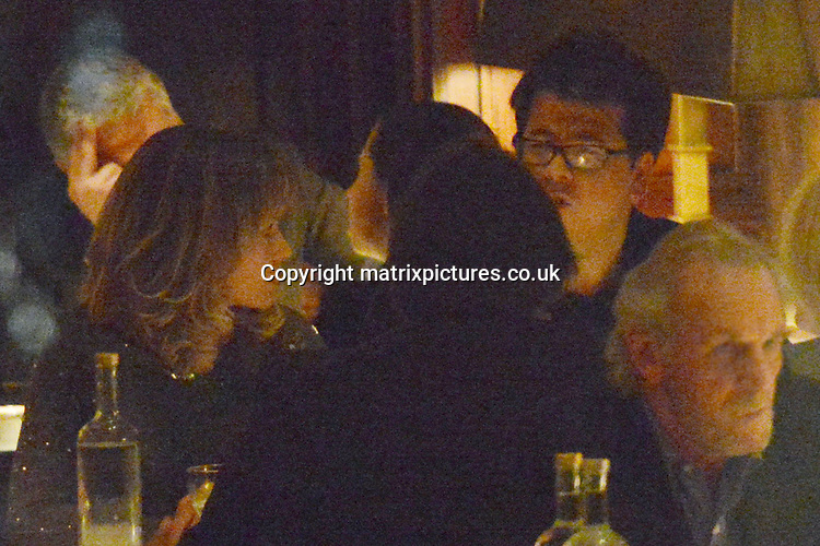 """NON EXCLUSIVE PICTURE: MATRIXPICTURES.CO.UK.PLEASE CREDIT ALL USES..WORLD RIGHTS..""""Britain's Got Talent"""" judge Amanda Holden is pictured dining with English stand-up comedian Michael McIntyre and their respective partners, at London's Delaunay restaurant. ..The group arrive at 8pm and depart at 10.30pm.  .APRIL 9th 2013..REF: ASI 132364"""
