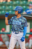 Daniel Robinson (50) of the Ogden Raptors bats against the Orem Owlz at Lindquist Field on August 3, 2018 in Ogden, Utah. The Raptors defeated the Owlz 9-4. (Stephen Smith/Four Seam Images)