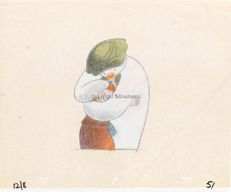BNPS.co.uk (01202 558833)<br /> Pic: Bonhams/BNPS<br /> <br /> PICTURED: The Snowman: An original animation cel of the Snowman and James. The most valuable a picture of James and the Snowman embraced in a hug. The 13ins by 10.5ins sketch, that sold for £2,550, depicts one of the most heartwarming moments in the 1982 animation film.<br /> <br /> Original animation cells from the Christmas film 'The Snowman' have sold at auction for £14,000.<br />  <br /> The 16 drawings were sketched on celluloid plastic and then filmed in sequence to give the impression they were moving.
