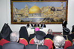Palestinian President Mahmoud Abbas during a meeting with the Heads of Churches, in the West Bank city of Ramallah February 16, 2011. Photo by Thaer Ganaim