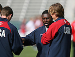 29 January 2006: Freddy Adu (2nd from rt), of the U.S., with teammates Steve Ralston (l) and Brian Carroll (r). The United States Men's National Team defeated their counterparts from Norway 5-0 at the Home Depot Center in Carson, California in a men's international friendly soccer game.