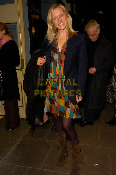 BETH CORDINGLY.At The Little Shop Of Horrors West end Transfer .& Press Night, Duke Of York's Theatre, .London, England, March 12th 2007..full length red mulit-coloured patterned printdress pinstripe jacket brown boots.CAP/CAN.©Can Nguyen/Capital Pictures