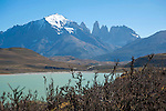 View of Almirante Nieto Mountain Peak in Torres del Paine National Park in Patagonia Chile