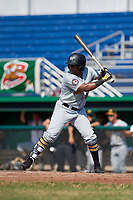 West Virginia Black Bears designated hitter Felix Vinicio (44) follows through on a swing during a game against the Batavia Muckdogs on July 1, 2018 at Dwyer Stadium in Batavia, New York.  Batavia defeated West Virginia 8-4.  (Mike Janes/Four Seam Images)