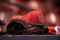 Ball State Cardinals hats and gloves on the dugout before a game against the Wisconsin-Milwaukee Panthers on February 26, 2016 at Chain of Lakes Stadium in Winter Haven, Florida.  Ball State defeated Wisconsin-Milwaukee 11-5.  (Mike Janes/Four Seam Images)