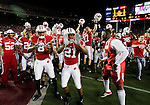 The Wisconsin Badgers celebrate their victory over the Ohio State Buckeyes after an NCAA college football game on October 16, 2010 at Camp Randall Stadium in Madison, Wisconsin. The Badgers beat the Buckeyes 31-18. (Photo by David Stluka)