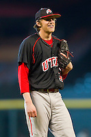 Relief pitcher Tyler Wagner #34 of the Utah Utes is all smiles after getting the last out of the game against the Baylor Bears at Minute Maid Park on March 5, 2011 in Houston, Texas.  Photo by Brian Westerholt / Four Seam Images