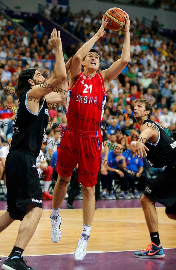 Luka Mitrovic Sport, Kosarka, Basketball Serbian national team, Reprezentacija, Beograd Srbija, Srbija - Argentina Belgrade, Serbia 16.8.2014. (credit image &amp; photo: Pedja Milosavljevic / STARSPORT)<br /> &copy; 2014 Pedja Milosavljevic / +318 64 1260 959 / thepedja@gmail.com