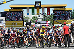 The peloton lined up for the start of Stage 15 of the 104th edition of the Tour de France 2017, running 189.5km from Laissac-Severac l'Eglise to Le Puy-en-Velay, France. 16th July 2017.<br /> Picture: ASO/Pauline Ballet   Cyclefile<br /> <br /> <br /> All photos usage must carry mandatory copyright credit (&copy; Cyclefile   ASO/Pauline Ballet)