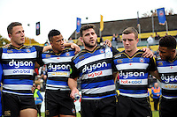 Rob Webber of Bath Rugby speaks to his team-mates in a huddle after the match. Aviva Premiership match, between Bath Rugby and Exeter Chiefs on October 17, 2015 at the Recreation Ground in Bath, England. Photo by: Patrick Khachfe / Onside Images