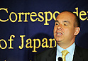 April 19, 2012, Tokyo, Japan - Michael Woodford, former president of Japans Olympus Corp., speaks during a news conference at Tokyos Foreign Correspondents Club of Japan on Thursday, April 19, 2012...Woodford said hell attend an extraordinary meeting Friday of Olympus shareholders, who are likely to back a slate of management-proposed directors and let the camera maker put behind it the $1.7 billion accounting fraud. (Photo by Natsuki Sakai/AFLO) AYF -mis-..
