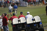 European Team Captain Nick Faldo drives down the 1st hole chasing Paul Azinger's cart during the Singles on the Final Day of the Ryder Cup at Valhalla Golf Club, Louisville, Kentucky, USA, 21st September 2008 (Photo by Eoin Clarke/GOLFFILE)