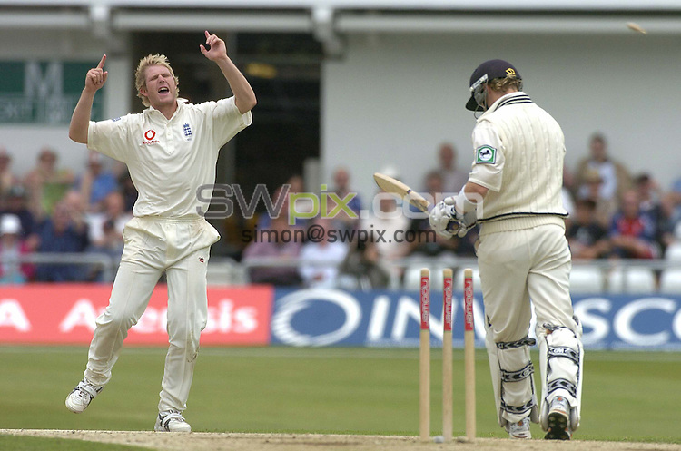 Pix: Ben Duffy/SWpix.com -  International Cricket..NPower 2nd test England v New Zealand.... 05/06/2004. ..COPYRIGHT PICTURE>>SIMON WILKINSON>>01943 608782>>..England's Matthew Hoggard celebrates taking the wicket of New Zealand's Brendon McCullum