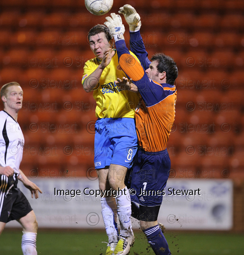 11/03/2008    Copyright Pic: James Stewart.File Name : sct_jspa10_dunfermline_v_hamilton.JAMES MCARTHUR COLLIDES WITH KEEPER PAUL GALLACHER.James Stewart Photo Agency 19 Carronlea Drive, Falkirk. FK2 8DN      Vat Reg No. 607 6932 25.Studio      : +44 (0)1324 611191 .Mobile      : +44 (0)7721 416997.E-mail  :  jim@jspa.co.uk.If you require further information then contact Jim Stewart on any of the numbers above........