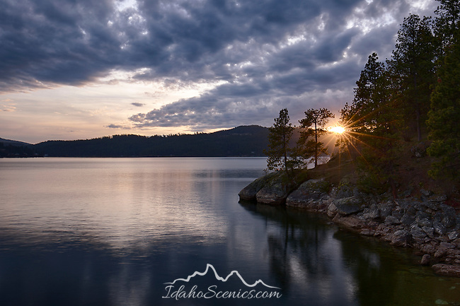 Idaho, North, Coeur d'Alene. Sunset at Tubbs Hill of Lake Coeur d'Alene in late winter.