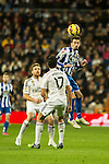 Real Madrid´s Alvaro Arbeloa and Deportivo de la Coruna's Albert Lopo during 2014-15 La Liga match between Real Madrid and Deportivo de la Coruna at Santiago Bernabeu stadium in Madrid, Spain. February 14, 2015. (ALTERPHOTOS/Luis Fernandez)