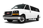 Stock pictures of low aggressive front three quarter view of 2017 GMC Savana-Passenger 3500-LS-Ext 5 Door Passenger Van Low Aggressive