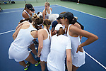 The Vanderbilt Commodores huddle up prior to their match against the Georgia Tech Yellow Jackets in the semifinals at the 2018 NCAA Women's Tennis Championship at the Wake Forest Tennis Center on May 21, 2018 in Winston-Salem, North Carolina. The Commodores defeated the Yellow Jackets 4-2. (Brian Westerholt/Sports On Film)