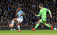 Manchester City's Raheem Sterling scores his side's fourth goal <br /> <br /> Photographer Rich Linley/CameraSport<br /> <br /> UEFA Champions League Round of 16 Second Leg - Manchester City v FC Schalke 04 - Tuesday 12th March 2019 - The Etihad - Manchester<br />  <br /> World Copyright &copy; 2018 CameraSport. All rights reserved. 43 Linden Ave. Countesthorpe. Leicester. England. LE8 5PG - Tel: +44 (0) 116 277 4147 - admin@camerasport.com - www.camerasport.com