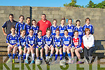 Kerins O'TRahillys girls under 14 champions on Wednesday evening in training with their trainers. Front l-r: Shauna hanafin, Ellen O'Brien, Emma McCarthy, Michelle O'Leary, Cli?ondhna hayes, Beckey Hussey, Rachel O'Halloran,Noreen O'Connor and Kay Hayes(mentor). Back l-r: Paul Hayes (mentor), Shannon Daly, Victoria Stone, Alex White, Alan Hanafin (mentor), Ericia  Griffin, Caoimhe Crowe, Blaithin Griffin, Kayleigh Quirke and Sinead Brosnan.................................... ....
