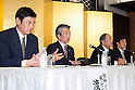 Tsuyoshi Kameoka Representative Director, President, Group CEO of Showa Shell Sekiyu K.K. speaks about Idemitsu Kosan company's plans to buy a 1/3 stake in Showa Shell Sekiyu from Royal Dutch Shell during a news conference held at the New Otani Hotel on July 30th, in Tokyo, Japan. Idemitsu Kosan Co Ltd. is currently Japan's second biggest oil refiner with Showa Shell ranked fifth. Idemitsu Kosan will pay approximately $1.4 billion for the stake, and the deal should see it competing for the number one spot in the competitive Japanese market. Shell will retain a small stake in Show Shell and will benefit from the influx of capital. Pending approval the deal is expected to be complete in 2016. Pictured from left to right Hiroshi Watanabe Executive Officer, Tsuyoshi Kameoka Representative Director, President, Group CEO both from Showa Shell Sekiyu K.K. with Takashi Tsukioka Representative Director & Chief Executive Officer and Susumu Nibuya Director of Idemitsu Kosan Co Ltd. (Photo by Rodrigo Reyes Marin/AFLO)