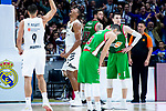 Real Madrid Walter Tavares and Felipe Reyes and Kirolbet Baskonia Vincent Poirier and Luca Vildoza during Turkish Airlines Euroleague match between Real Madrid and Kirolbet Baskonia at Wizink Center in Madrid, Spain. October 19, 2018. (ALTERPHOTOS/Borja B.Hojas)