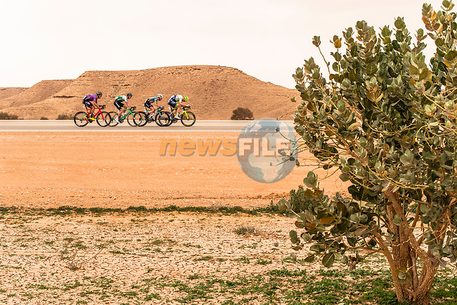 The breakaway in action during Stage 2 of the Saudi Tour 2020 running 187km from Sadus Castle to Al Bujairi, Saudi Arabia. 5th February 2020. <br /> Picture: ASO/Kåre Dehlie Thorstad | Cyclefile<br /> All photos usage must carry mandatory copyright credit (© Cyclefile | ASO/Kåre Dehlie Thorstad)