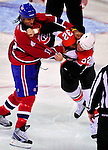 7 December 2009: Philadelphia Flyers' left wing forward Riley Cote and Montreal Canadiens right wing forward Georges Laraque square off in a first period fight at the Bell Centre in Montreal, Quebec, Canada. The Canadiens defeated the Flyers 3-1. Mandatory Credit: Ed Wolfstein Photo
